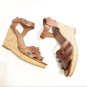 Lucky Brand Brown Leather Cork Wedges